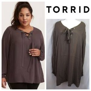 Torrid Gray Textured Lace Up Blouse Tunic Sz 5 5X